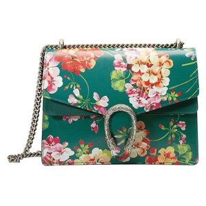 Gucci Small Dionysus Blooms Leather Bag Green